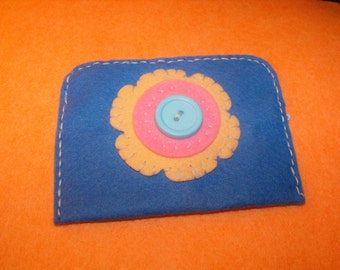 100% Wool Felt Gift Card Holder/Cash Gift Holder/Change Purse Handstitched Cotton Floss Hand Embroidered All Handcrafted Deep Blue Peach