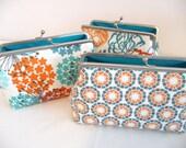 Teal Blue Clutch Set of 3, Bridesmaid Clutch Gift Set, Fun Geometric & Floral Purse, Bridesmaid Clutch Gift Set