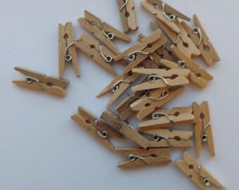 20 Tiny Wood Clothes Pins