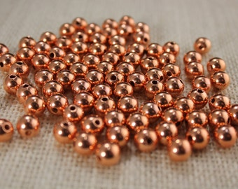 8mm Genuine Copper Round Beads (36 Pieces)