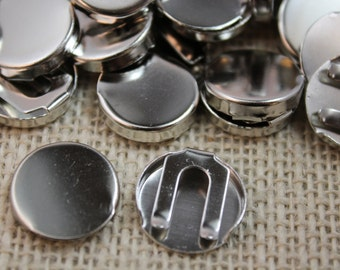 17mm Brass 1 Piece Slide Over Button Cover Findings (12 pieces)