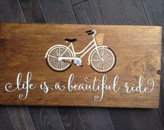 Life is a Beautiful Ride Vintage Bicycle Hand Painted on Wood by, IzzyB Vintage Me