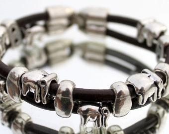 Leather Bracelet, Elephants