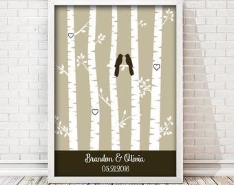 Birch Tree Print - Couple Gift - First Anniversary print - Personalized Wedding Gift - Gift for Wife - 1 Year