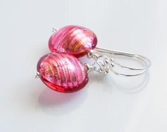Venetian murano glass pink earrings genuine Venetian Murano glass and sterling silver pink earrings small pink and silver murano earrings