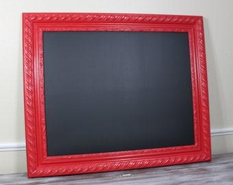 Framed Chalkboard Red Kitchen Decor, Menu Board, Hand Painted Frame Dorm Room, Office Playroom Decor, Nursery Chalk Board 16x20