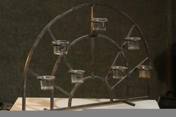Nice Large Wrought Iron Fireplace Candelabra 7 Votive Candle