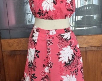 Tropical Hawaiian Pink Floral Crop Top and Skirt Set 1980s does 1950s