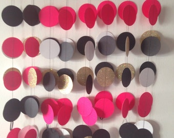 Hot pink/ black/ gold Paper garland for wedding, baby shower, bridal shower, birthday or any occasion.