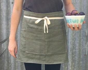 Linen half apron/ cafe / vendor / kitchen apron olive green
