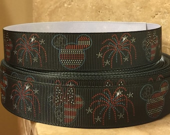 5 YDS Mickey and Minnie Independence Day Fireworks Ribbon