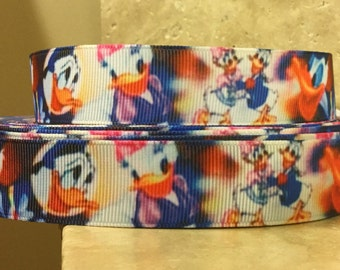 5 YDS  Donald Duck and  Daisy Duck Ribbon