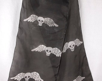 Skulls with Wings Silk Scarf