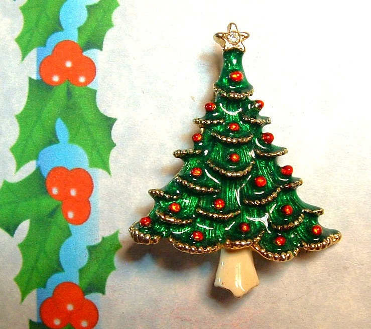 1970 s vintage tree enamel painted gold plated