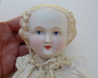 """Antique Bisque Blonde Parian 17"""" High Brow Doll ~ Most Likely German"""