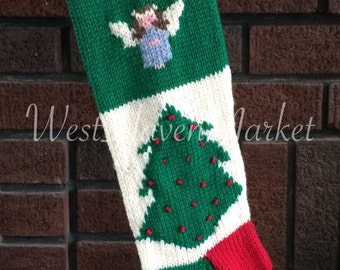 Vintage Personalized Hand Knit Angel Christmas Stocking 100% PURE WOOL