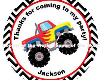 Set of 12 Red Monster Truck Chevron - Personalized Stickers, Party Favor Tags, Thank You Tags, Gift Tags, Tags Or Stickers You Choose