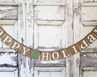 CHRISTMAS Banners - Christmas Party DECORATIONS Signs - HAPPY Holidays - Rustic Barn Christmas