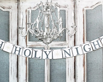 Christmas Banners - Christmas Oh Holy Night signs - Rustic Christmas Decorations - Christmas Card Photos