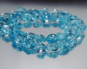 Swiss Blue Topaz Smooth Nuggets 8-12MM 6 Pcs,Beautiful Beads! Blue Topaz Beads, Blue Topaz Necklace, Blue Topaz Strands, Topaz Tumbles