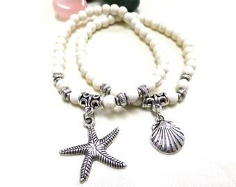 White Turquoise Bracelets, Layering Bracelets, Starfish and Shell Bracelets, Two Charm Bracelets, Nautical Bracelets, Boho, Hippie,Sealovers