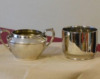 Mismatched Silver Plate Sugar Bowl & Creamer