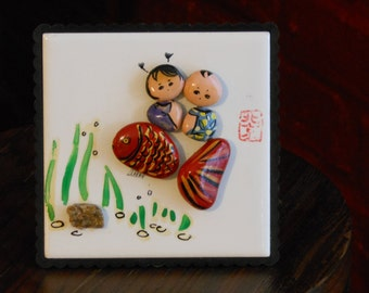 Decorative Display Tile with Hand Painted Stones