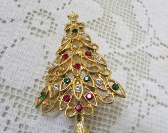 vintage 60's  Christmas tree pin brooch with red, crystal and green rhinestones signed?