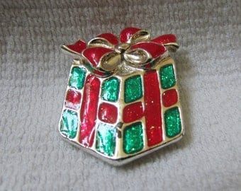 vintage 70's  wrapped Christmas present pin brooch with red and green glitter signed