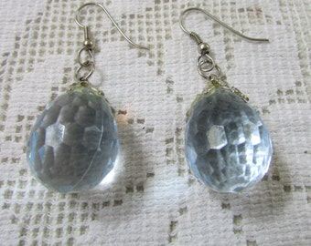 Vintage retro pierced faceted pale blue Lucite drop earrings wedding bridal prom