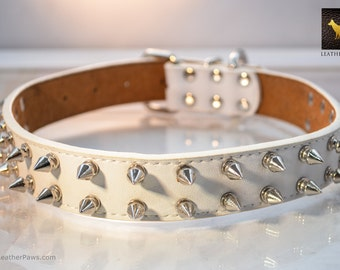 "Adjustable White Leather Dog Collar Made of Stainless Silver Sharp Spikes Buckle and Leather for Small to Large Breed  12"" to 27"""
