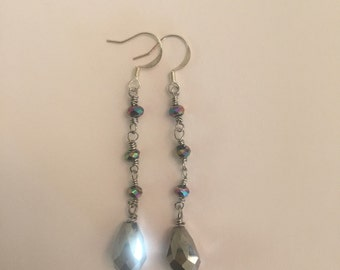 Crystal Glass Faceted Wire Wrapped Drop Earrings