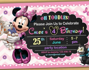Minnie mouse Birthday Invitation, Minnie mouse Invitation, Minnie mouse chalkboard invitation, new 1 - Digital file