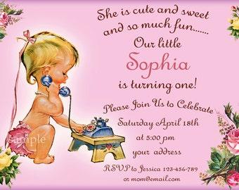SALE Vintage Baby Invitation ,1st birthday Invitation, vintage baby shower invitation with any your text - Digital file