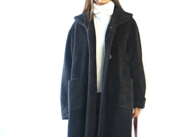 Maxi Teddy Blanket Coat long// oversize// dark brown medium/large// duster//jac ket/ /boho//