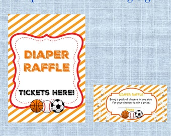 Sports Baby Shower Diaper Raffle Tickets & Matching Sign - Sports, Soccer, Basketball, Baseball Baby Shower Games- Instant Download