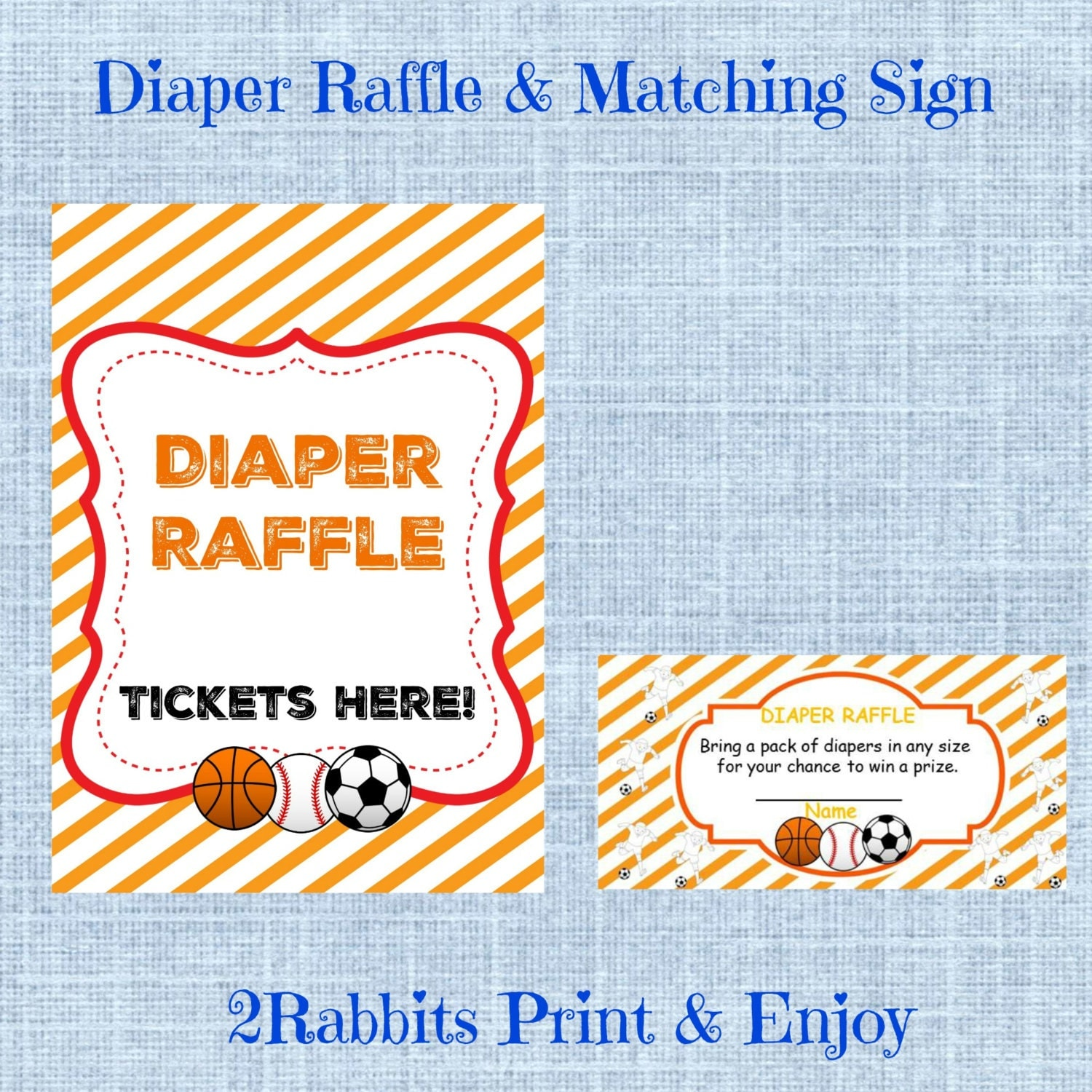 sports baby shower diaper raffle tickets matching sign
