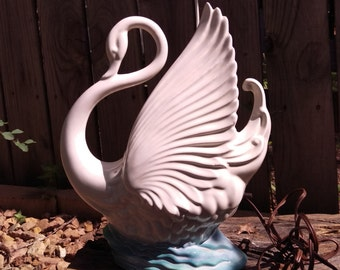 Maddux White Swan with Blue Water TV Lamp