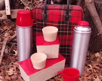 Thermos Brand Product Plaid Picnic Lunch Set 2 Thermos 6 cups 2 Containers