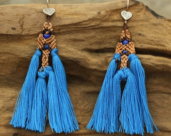 Earrings,waxed nylon cord woven in brown color and blue cotton yarn with silver hooks