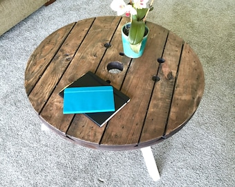 Salvaged Cable Spool Coffee Table with Oak Legs