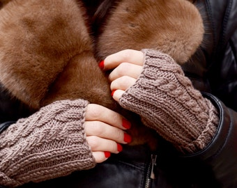 Brown knit mittens, Wool knitted mittens, Womens knit fingerless, Knit gloves, Winter fingerless gloves, Brown knit mitts