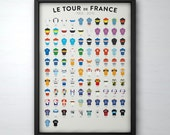 Tour de France History 1903 - 2015. Cycling Poster Illustrated in the UK.