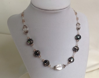 Abalone and crystal necklace.  18 inches.