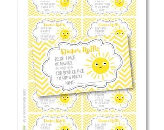 INSTANT DOWNLOAD - You Are My Sunshine Diaper Raffle - Chevron - Yellow DIY Printable (Digital File Jpeg and Pdf)