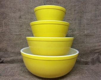 FULL SET - Vintage Pyrex Bright Yellow Mixing Bowl Set