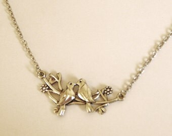 Love Birds on Branch silver tone Necklace/Lovebirds kissing/Silver Birds Chain Necklace
