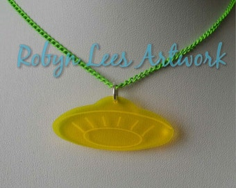 Fluorescent Neon Yellow UFO Spaceship Necklace on Neon Green Chain, Alien