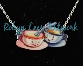 Tea and Coffee Cup and Saucer Love Printed Acrylic Necklace on Silver or Gold Chain, Cute