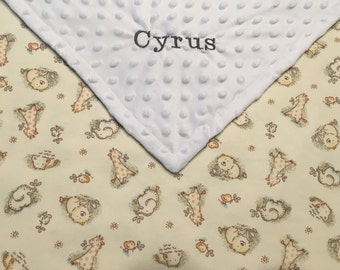 Personalized Baby Blanket, Baby Minky Blanket Neutral, Neutral Baby Nursery, Embroidered Baby Blanket, Monogram Baby Blanket